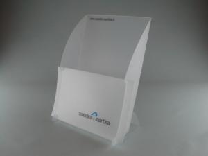 Porta depliant e pieghevoli da banco in PPL fustellato, personalizzabile