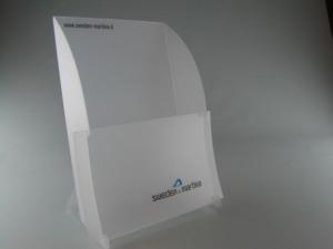 Espositore da banco porta depliant e pieghevoli in PPL fustellato personalizzabile